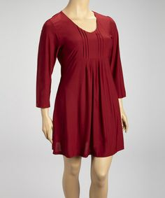 Take a look at this Burgundy Pleated Long-Sleeve Dress - Plus by Reborn Collection on #zulily today!