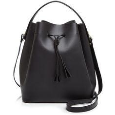 Celine Lefebure Karin Bucket Bag (180.300 HUF) ❤ liked on Polyvore featuring bags, handbags, black, black leather bag, genuine leather bag, leather purse, black handbags and black leather purse