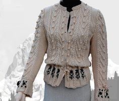 """Ladies cardigan with Austrian Inspiration """"Lake Louise"""" - the perfect companion for denim 50 Off Sale, Cardigans For Women, Hand Knitting, Leather Skirt, Feminine, Pure Products, Denim, Lady"""