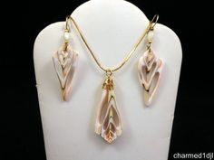 Vintage Sliced Snail Seashell Pendant Necklace Earring Set 1970's Unique! #Unbranded #Pendant