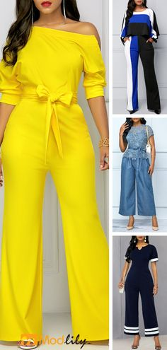 Trendy Jumpsuits Rompers for women on sale Yellow Jumper Outfit, Jumper Outfit Jumpsuits, Jumpsuit Outfit, Yellow Jumpsuit, Slacks For Women, Professional Attire, Jumpsuits For Women, Dress To Impress, Cute Outfits