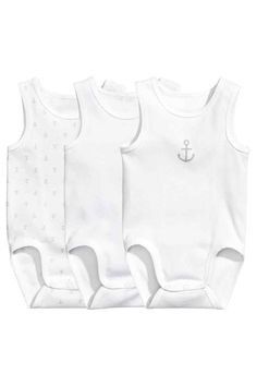 3-pack sleeveless bodysuits - White/Anchor - | H&M 1