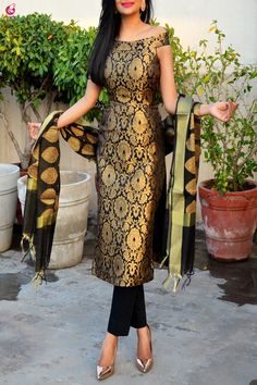Black Brocade Padded Kurti with Cotton Silk Pants and Chande.- Black Brocade Padded Kurti with Cotton Silk Pants and Chanderi Stole Black Brocade Padded Kurti with Cotton Silk Pants and Chanderi Stole - Salwar Designs, Kurta Designs Women, Kurti Designs Party Wear, Saree Blouse Designs, Silk Kurti Designs, Indian Gowns Dresses, Indian Fashion Dresses, Dress Indian Style, Fashion Outfits