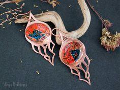 Copper earrings. Dichroic glass earrings. Handmade jewelry.
