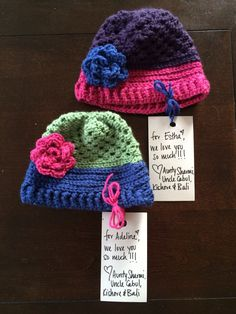Matching hats for two cute little sisters!