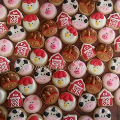 These cute mini cookies (about 1.25) are perfect for your childs barnyard birthday bash! Youll receive all of the 5 designs in the picture - barn, cow, pig, chicken, horse. Please choose 2, 3, or 4 dozen at checkout. If you need more than 4 dozen, send me a message! Your delicious cookies will arrive in cello bags, packed 6-12 per bag. You will receive storing/freezing instructions with your order. They will stay fresh for up to 2 weeks in their packaging and can then be frozen for up t...