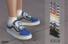 Vans Old Skool at - The Sims 4 Catalog Tomboy Outfits, Outfit Chic, Outfits Casual, Maxi Outfits, Spring Outfits, The Sims 4 Pc, Sims Four, Sims 4 Mm Cc, Mods Sims 4