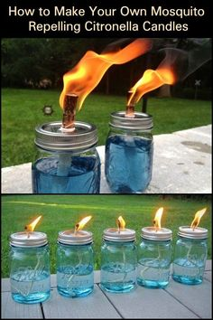 It's a beautiful, balmy night. You decide to sit out and do a little star gazing. until the mosquitoes find you! Make mosquito repelling citronella candles! This little DIY project makes use of citronella. From backyard barbecues to Outdoor Crafts, Outdoor Projects, Outdoor Fun, Outdoor Decor, Citronella Candles, Diy Candles, Citronella Torches, Outdoor Candles, Outdoor Lighting