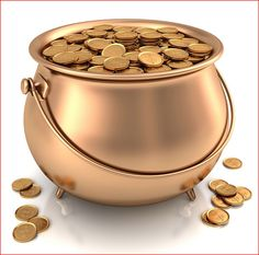 real pot of gold -- I think I have a copper pot at home...I could fill it up with coins from Dollar tree