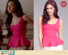 Santana's pink peplum top on Glee. Outfit Details: http://wornontv.net/27580 #Glee #fashion