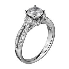 14kt White Gold (H/SI) Ladies Round Cut Loop Engagement Ring From the Luminaire Collection by Scott Kay