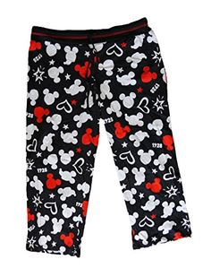 Disney Mickey Mouse Womens Pajama Pant With Silhouette Print  Black White Red * To view further for this item, visit the image link.