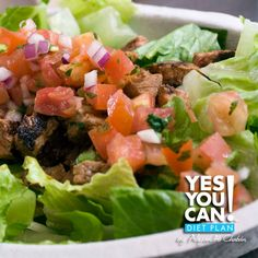 Grilled Steak and Side Salad Topped with Fresh Pico de Gallo - A healthy option for your Yes You Can! Diet Plan dinner