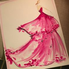 Sketch of the day: petal appliqué gown! Sketch prints and originals available at ChristianSiriano.com #cssketch