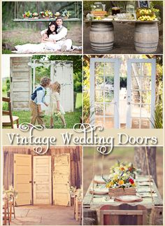 Are you a DIY bride? This is a wedding trend that you will want in on! Vintage doors have been making a big statement recently, and whether they are old, new, borrowed or blue, they are an easy way to add some whimsy to your wedding. Shed Wedding, Wedding Doors, Barn Wedding Venue, Outdoor Wedding Venues, Diy Wedding, Rustic Wedding, Dream Wedding, Wedding Ideas, Wedding Planning