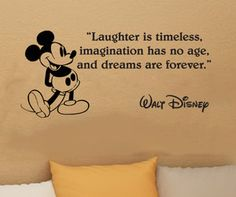 Walt Disney Mickey Mouse Laughter Is Timeless wall quote vinyl wall art decal sticker from kisvinyl on Etsy. Saved to Wall quote sayings in vinyl. Cute Quotes, Great Quotes, Funny Quotes, Inspirational Quotes, Movie Quotes, Quotes On Home, Family Quotes, Motivational Monday, Top Quotes