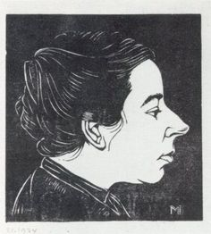 Jan Mankes, portrait of Annie Mankes, #woodblock #woodcut
