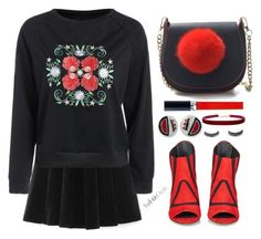 """Black and red"" by simona-altobelli ❤ liked on Polyvore featuring Balenciaga, Christian Dior, Kenneth Jay Lane, Humble Chic and Luxie"