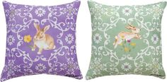 Bunny Medallion Reversible Pillow by Cynhia Couller© - Purple/Green