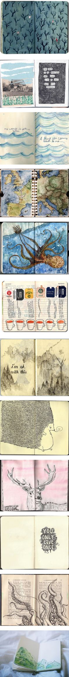 Journals and Colorful Drawings by camilla-adamowicz liked on Polyvore