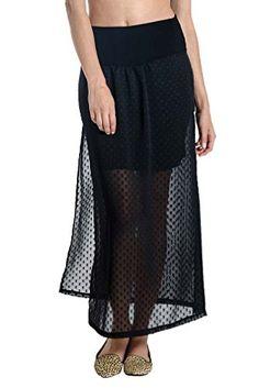 84312c610c607 Lilac Layered Maternity Maxi Skirt Black Dot Chiffon Large >>> You