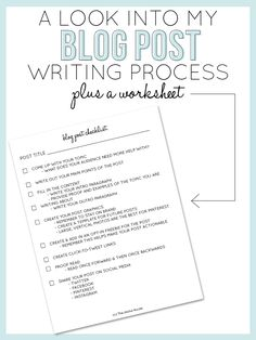 #EPIC resource for new #bloggers! She even has worksheets <3 (I have a special place in my heart for worksheets lol) - A Look Into My Blog Post Writing Process