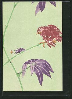 old postcard: AK Käfer verabschiedet sich von einem Vogel