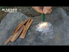 Strike a ferro rod to get magnesium shavings burning. A great way to start a fire.
