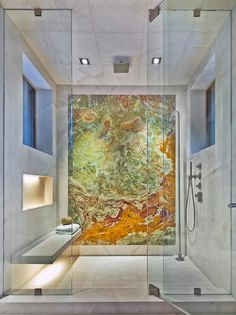 onyx slab in bathroom shower, really love this idea!! Incorporates two loves: Art & a shower