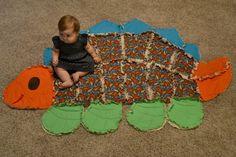 Large Dinosaur Shaped Quilt on Etsy, $150.00