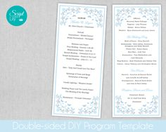 """Butterfly Wedding Program Template, Double-Sided 