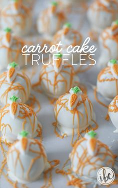 Carrot Cake Truffles - the flavor of carrot cake packed into a bite-sized truffle. Cute and easy Easter Dessert. #easter #spring #carrotcake #cakepop #dessert #truffle #recipe