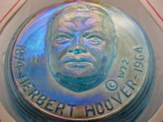 Hey, I found this really awesome Etsy listing at https://www.etsy.com/listing/115960062/vintage-herbert-hoover-iridescent-blue