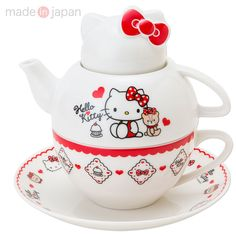 Hello Kitty Teapot, Tea Cup & Saucer Set Tea for One Set SANRIO Made in JAPAN-01