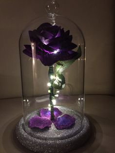 wedding beauty and the beast Beauty amp; The Beast Inspired Enchanted Rose Dome Light in Enchanted Rose, Purple Love, All Things Purple, Deco Violet, Cadbury Purple Wedding, Rose Dome, Quince Decorations, Forever Rose, Paludarium