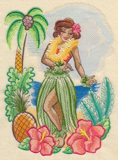 Single Hawaiin Tropical Retro Hula Girl embroidered fabric quilt block square