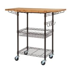 Trinity Expandable Surface Kitchen Cart with Solid Wood Top Base Finish: Bronze Narrow Kitchen Island, Kitchen Island Cart, Kitchen Islands, Kitchen Carts, Stainless Steel Utility Sink, Stainless Steel Counters, Solid Wood Kitchens, Small Kitchens, Wood Counter