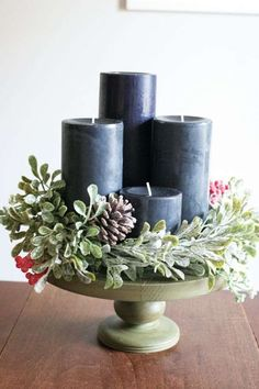17 Modern Advent Wreath Ideas that are Beautiful and Meaningful! New takes on the traditional Advent Wreath. Celebrate Christmas with a new tradition and make your own DIY Advent wreath. Advent Wreath Candles, Christmas Advent Wreath, Christmas Crafts, Advent Wreaths, Reindeer Christmas, Handmade Christmas, Modern Christmas, Christmas 2019, Winter Christmas