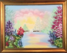 """Into the Mystic""; Oil on canvas; 18"" h x 24"" w x .75"" d; Impressionism Landscape; Framed; Ready to hang. The subtlety and richness of colors adds to the splendor of the graceful majesty of this mystical landscape oil painting. This painting arrives framed in a beautiful solid wood frame in classic gold leaf and 2"" width. My paintings are made using only the highest quality luxury paints and applied on the finest museum quality surfaces. All of my artworks are created to bring you…"