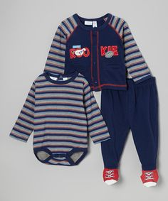 Look at this #zulilyfind! Navy & Red Stripe 'Rookie' Bodysuit Set - Infant by Baby Headquarters #zulilyfinds