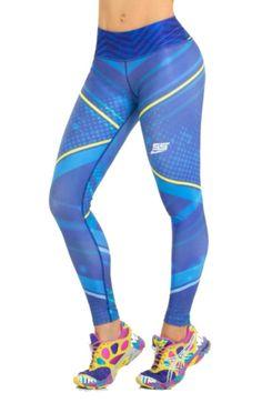 Santo Rosario Sport - Royal Blue and Yellow Leggings