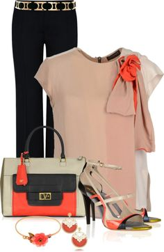 """Rosette flower top & black slacks"" by leilani-almazan ❤ liked on Polyvore"