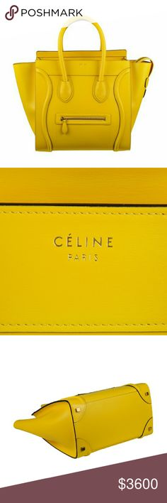 NWT Celine Yellow Leather Mini Luggage Tote Bad 12 X 12 X 7 approx inches.  Yellow calfskin leather.one exterior front pocket  yellow leather lining gold tone hardware. Celine Bags Totes