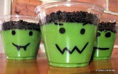 So cute for Halloween. Draw face on clear cup add green food coloring to vanilla pudding and crush oreos on