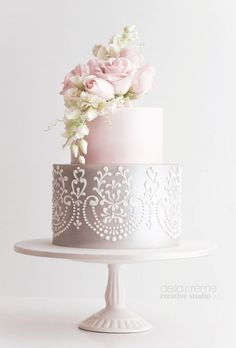 Featured Cake: De la Crème Creative Studio; Wedding cake idea. #pinkweddingcakes