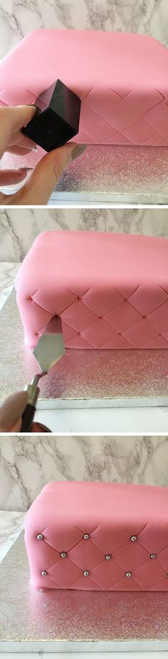 How to Create a Super Simple Quilted Effect - 17 Amazing Cake Decorating Ideas, . How to Create a Super Simple Quilted Effect - 17 Amazing Cake Decorating Ideas, Tips and Tricks That'll Make You A Pro Cake Decorating Techniques, Cake Decorating Tutorials, Cookie Decorating, Decorating Ideas, Cupcakes Decorating, Cake Decorating Amazing, Beginner Cake Decorating, Cake Icing, Fondant Cakes