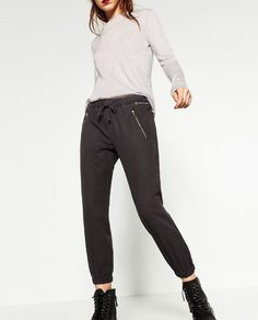 Image 2 of ZIPPED JOGGING TROUSERS from Zara