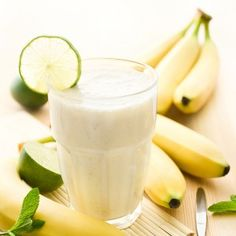 Banana Lime Smoothie - Quick and Healthy Smoothie Recipes for Pregnancy - Fit Pregnancy