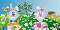 Couple of easter rabbit with painted easter eggs in outdoor