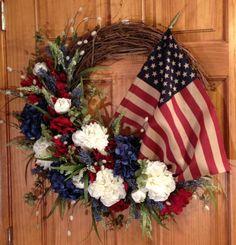 Patriotic wreath I made today.